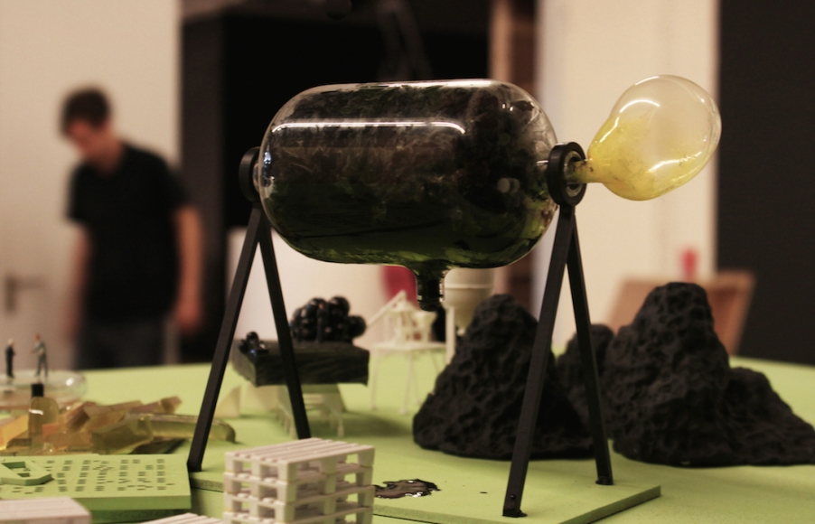 Microbial bank (the 'farting pig'). Made from glass, silicone rubber and bacterial cultures.